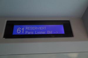 ヨーロッパの高速列車は各席の液晶で予約済が分かるようになっています。