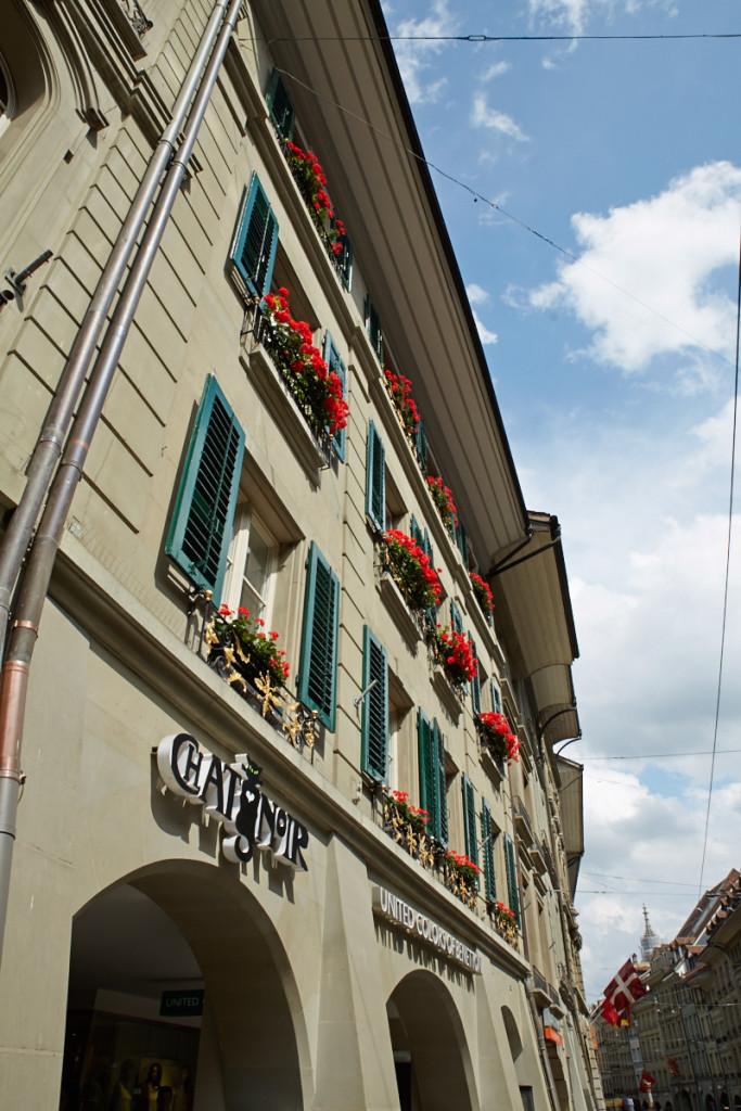 スイスといえば、窓の赤い花!