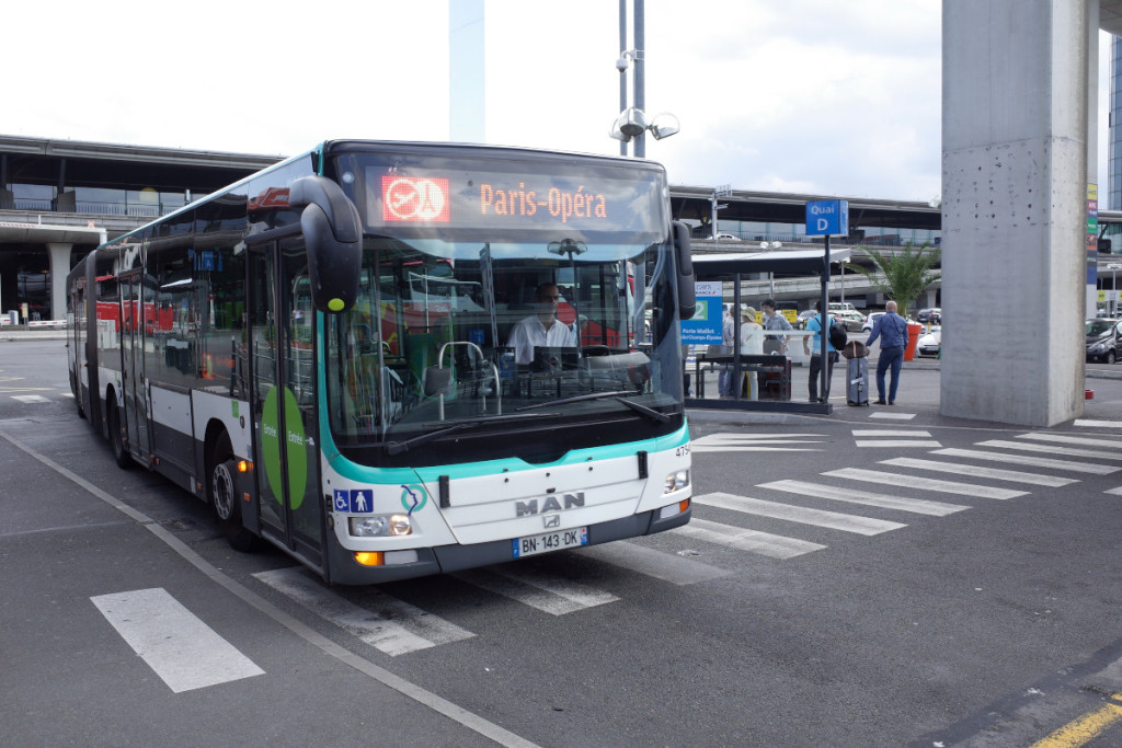 RATP運行のロワシーバス ちなみになんで空港バスがロワシーバスなのかというと、空港が「ロワシー」ってところにあるからだって!